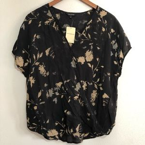 Lucky Brand Floral Wrap Twist Front Top